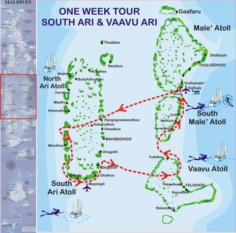 One-week-South-Ari-tour-map